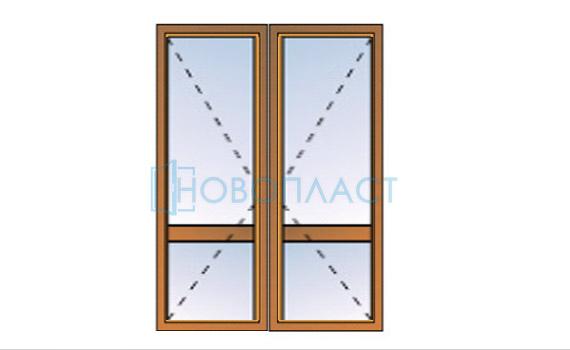 Дверь штульповая поворотная СПО(Однокамерный стеклопакет)